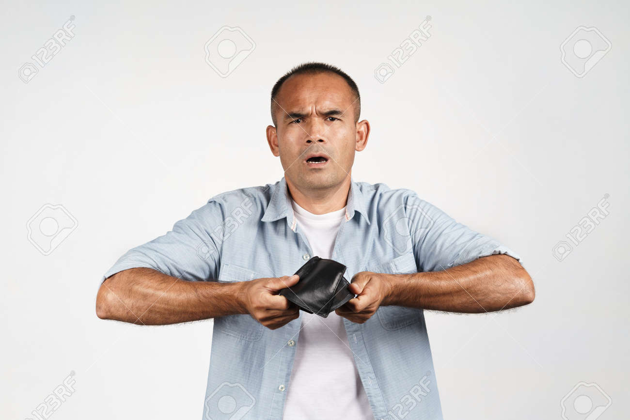 Upset mature man holding and upside down his empty wallet on white background. financial crisis, bankruptcy, no money, bad economy Concept. - 171880959