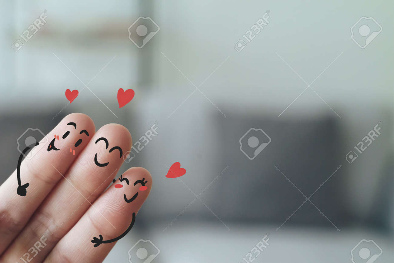 Closeup of Fingers With Happy Smiling Face, Friendship, Family, Group, Teamwork, Comunity, Unity, Love Concept. - 172185689