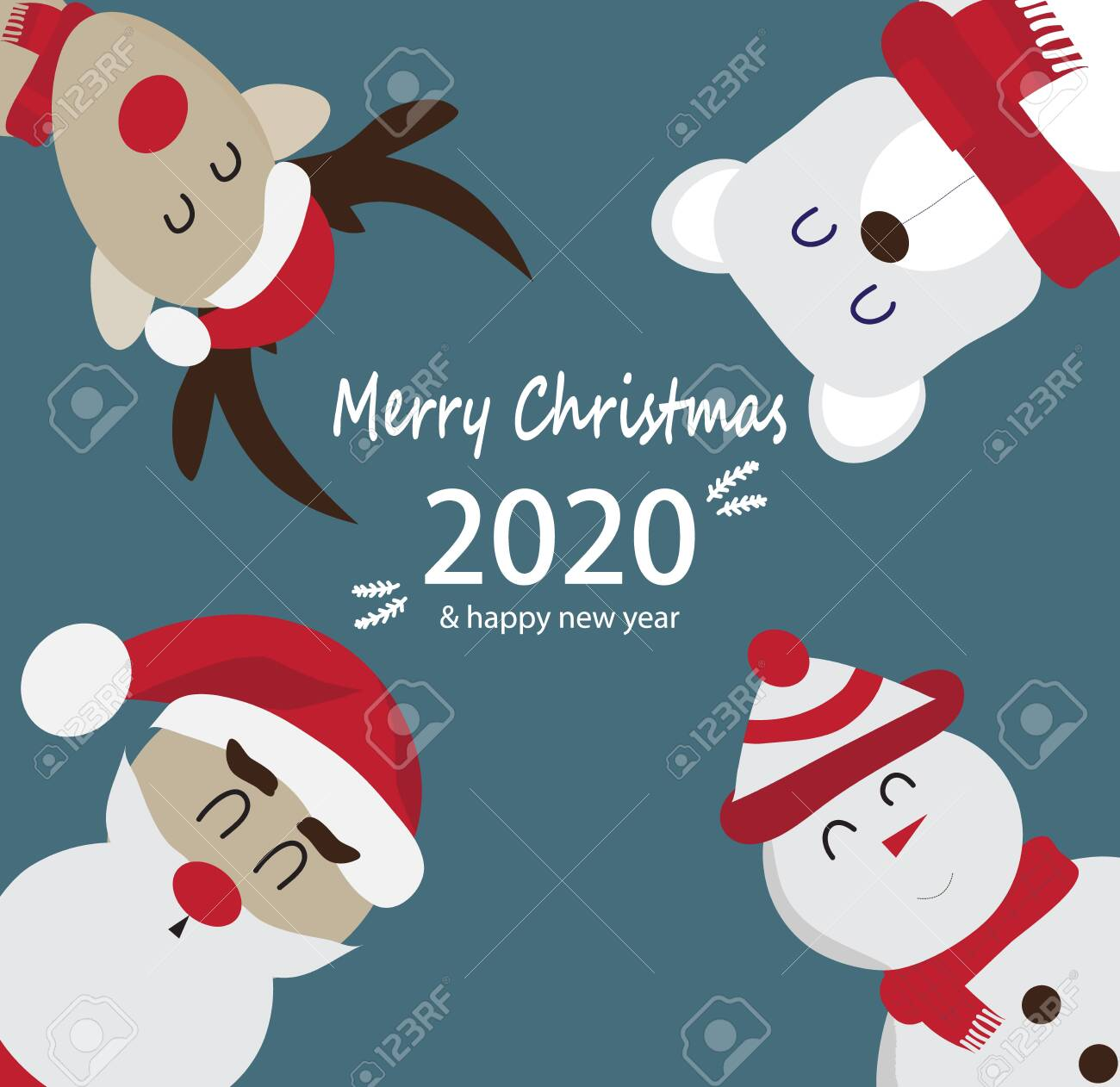 Merry Christmas With Santa 2020 Merry Christmas And New Year 2020 Greeting Cards With Santa Claus