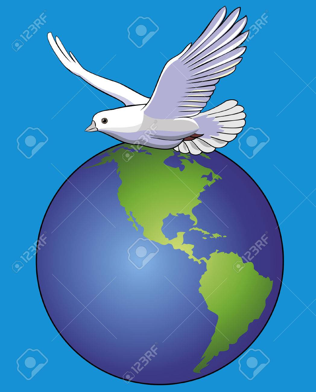 Vector illustration of white dove over globe Banque d'images - 3525445