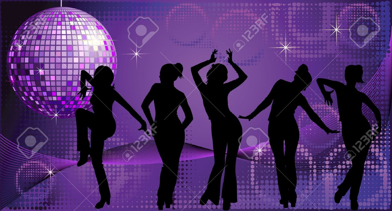 Vector illustration of five dancing women silhouettes on disco background - 12490512