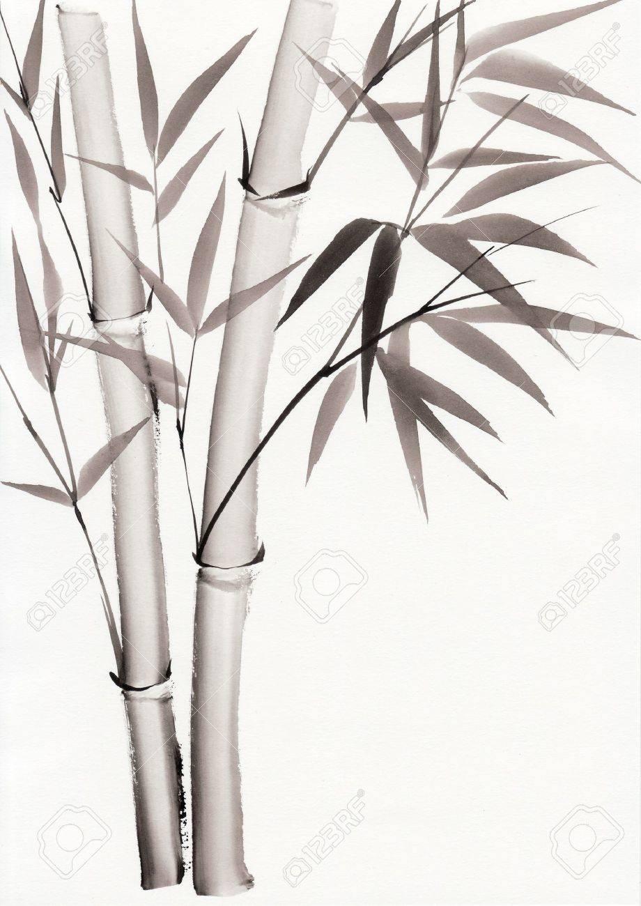 L'art original, peinture à l'aquarelle en bambou, peinture de style asiatique Banque d'images - 15177505