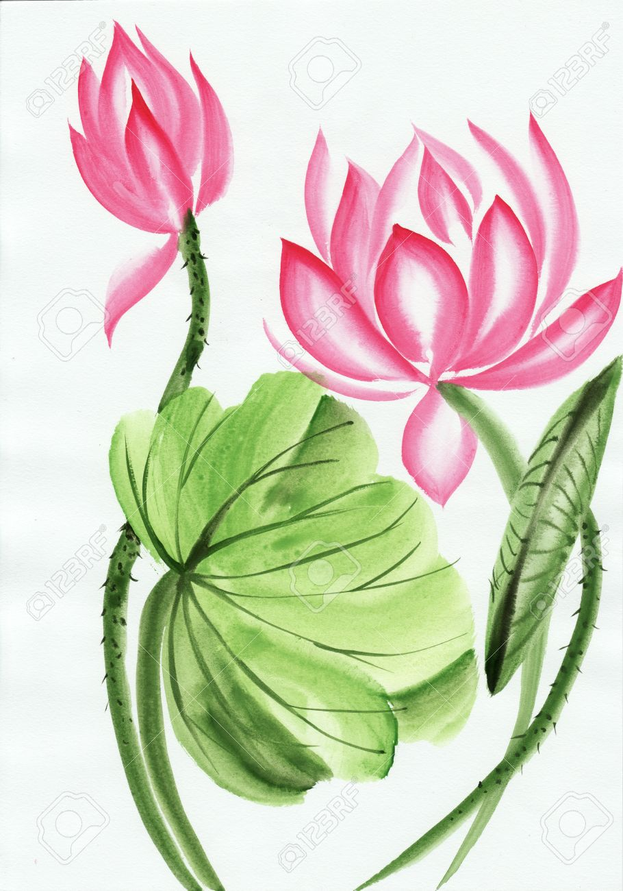 Original Art Watercolor Painting Of Pink Lotus Asian Style Stock