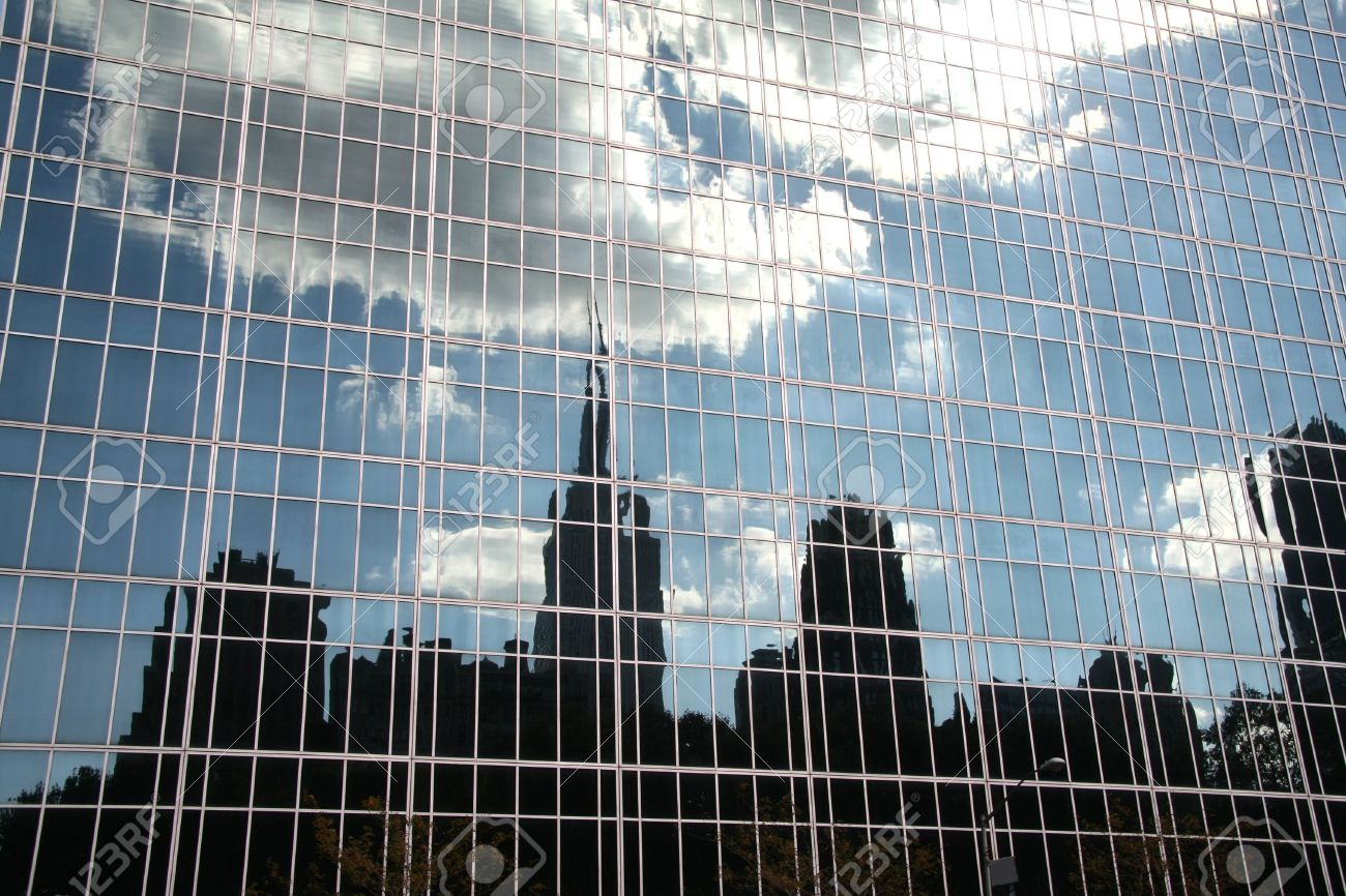 New York Skyline Reflection In Glass Building Stock Photo Picture