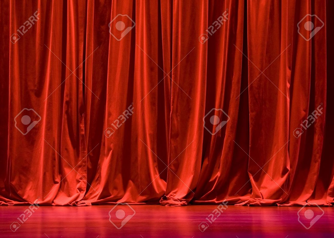 Red velvet curtains stage - Red Velvet Stage Curtains With Stage Floor Stock Photo 861640