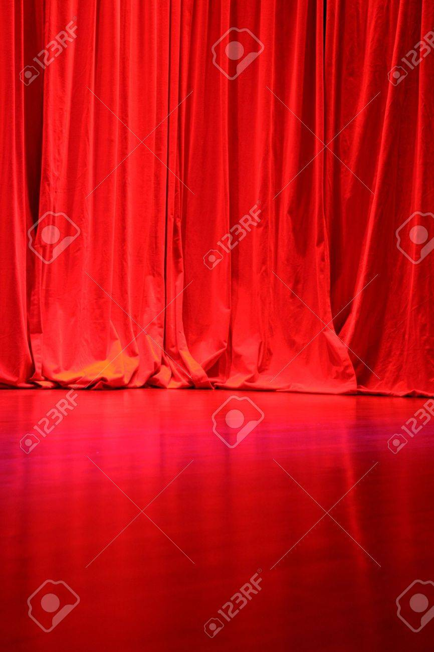 Red Velvet Stage Curtains With Stage Floor Stock Photo Picture And