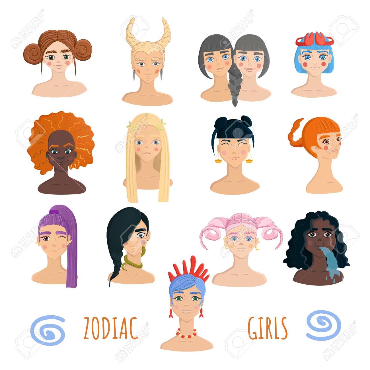 Coleccion De Zodiac Chicas Aislada Sobre Fondo Blanco Concepto De