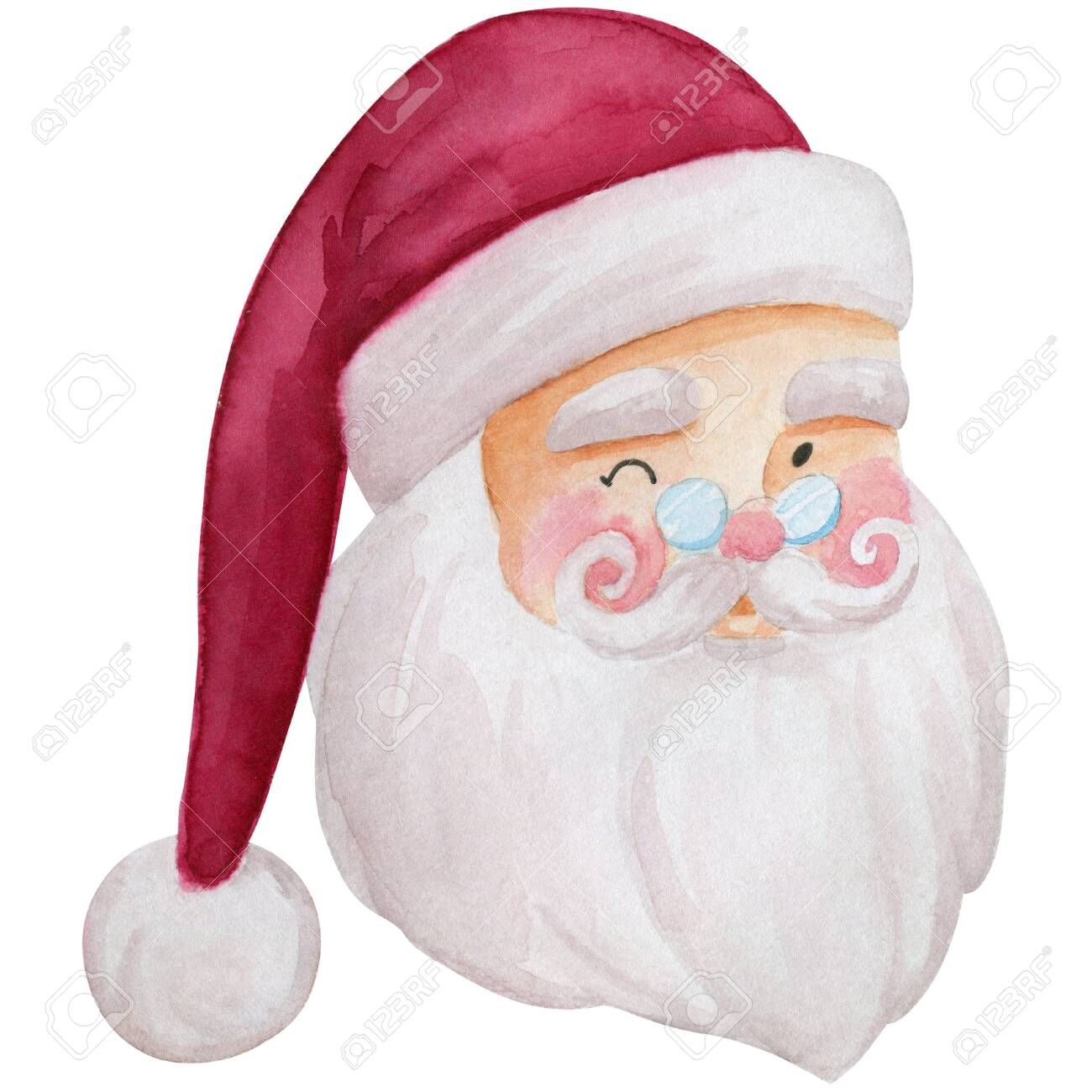 Santa Claus Winking Face Watercolor Illustration Cartoon Character Stock Photo Picture And Royalty Free Image Image 156434623