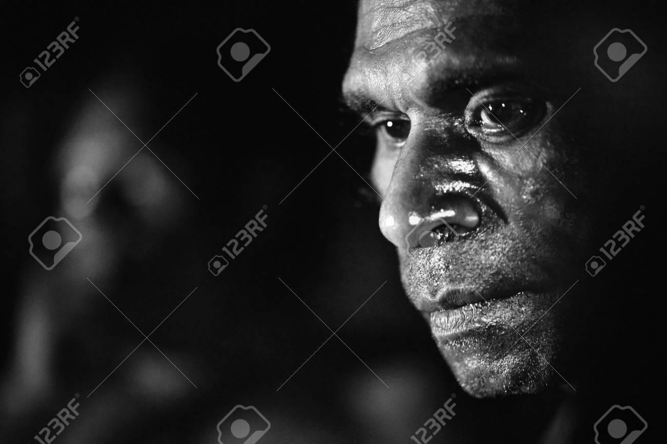 INDONESIA, IRIAN JAYA, ASMAT PROVINCE, JOW VILLAGE - JUNY 28: The Black and white Portrait Asmat man. June 28, 2012 in Jow Village, Asmat province, Indonesia - 15740659