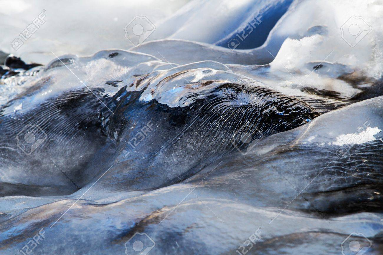 Ice waves frozen as frigid water cascaded down a waterfal creating unique ice sculptures Stock Photo - 16540945