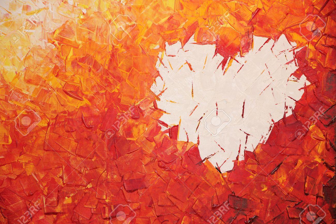 Connu Coeur Sur Le Feu, Peinture Acrylique Dans Des Couleurs Chaudes  IP27