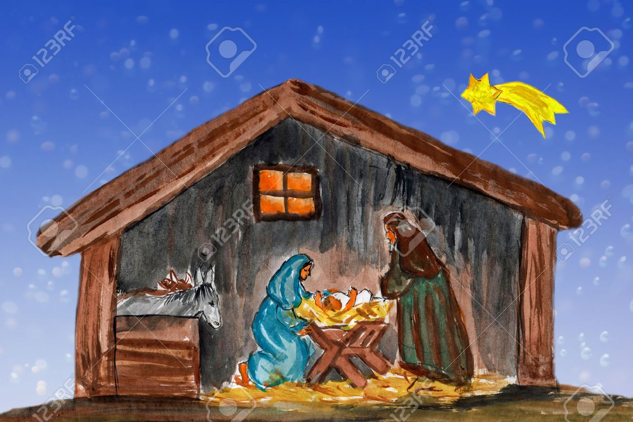 Nightly christmas scenery mary and joseph in a manger with baby Jesus in the crib, watercolor painting - 25034529