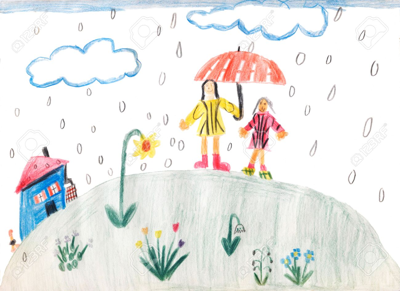 A Rainy Day Children Drawing Mother And Daughter Under Umbrella