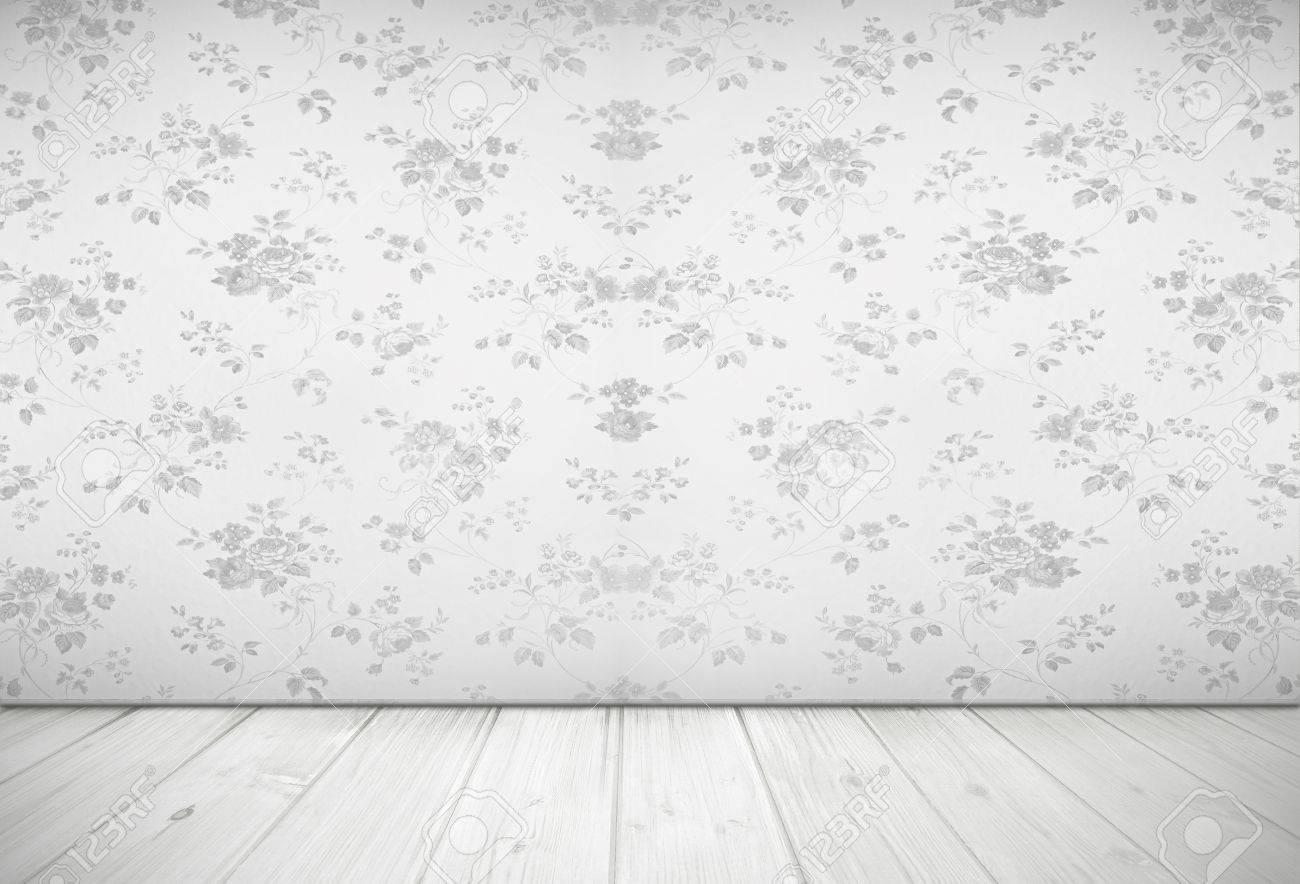 Nostalgisk vardagsrum design med vintage ros tapet, ljusgrå ...