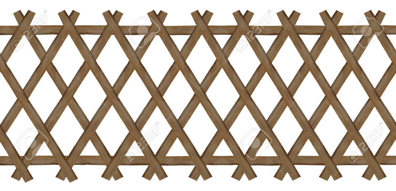 wooden brown trellis-work fence, isolated on white background - 31797904