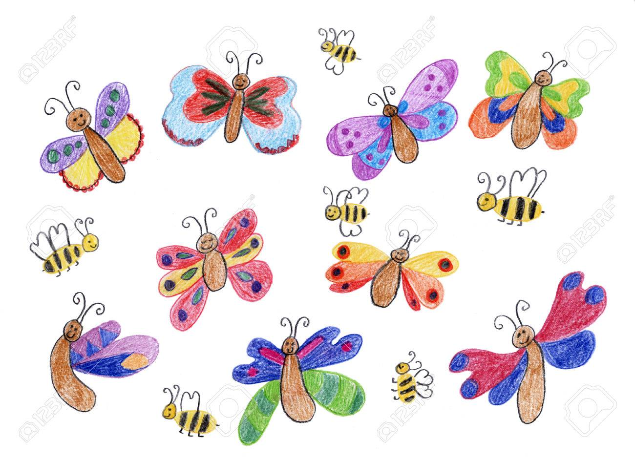 Lächelnd Schmetterlinge Und Bienen Kinder Zeichnen Lizenzfreie