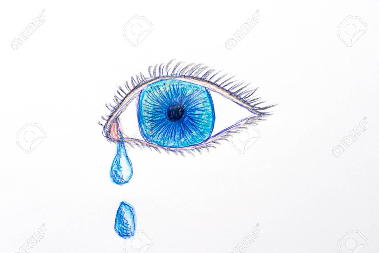 Dessin D Un Oeil Bleu Avec Des Larmes Isolé Sur Fond Blanc