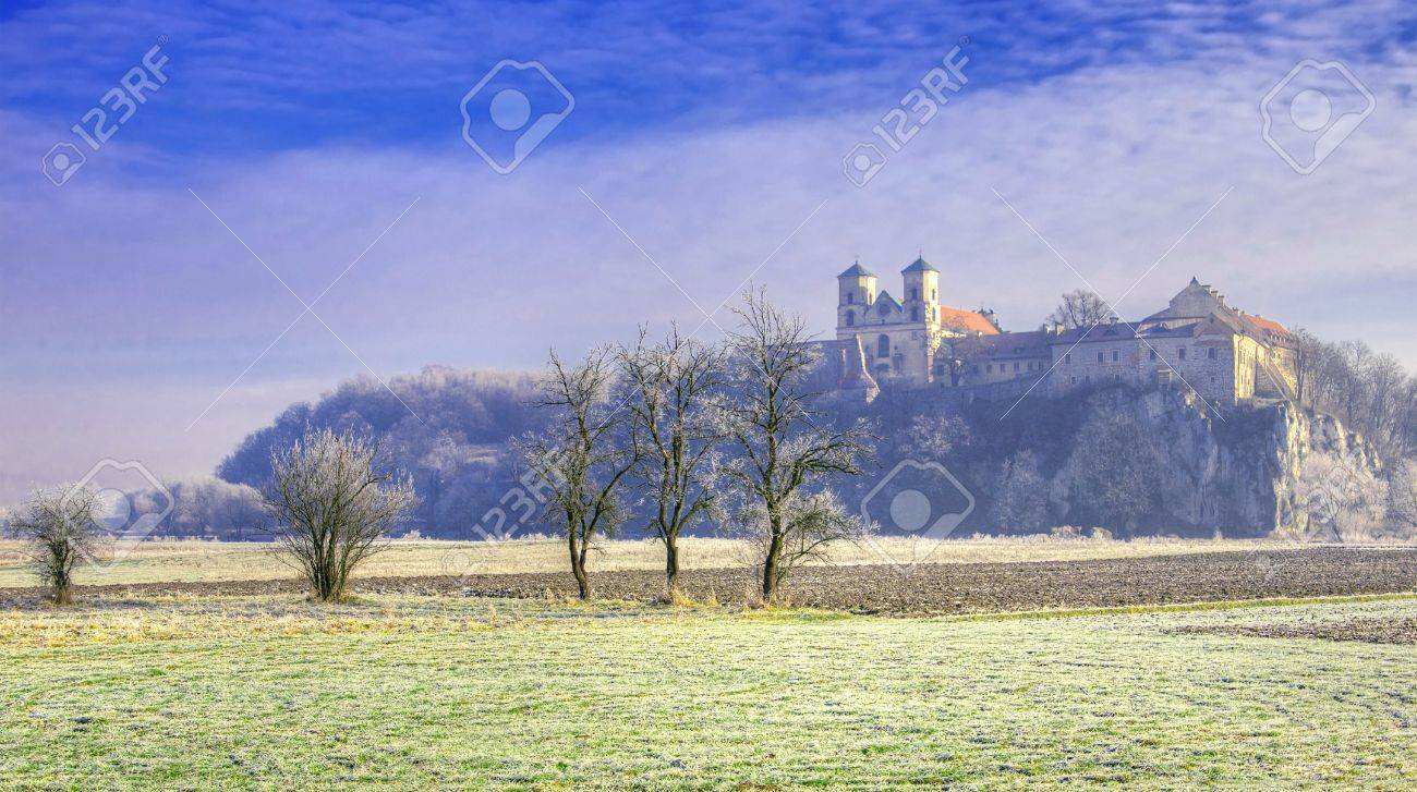 Benedictine Abbey by the Vistula river in Tyniec near Krakow and trees covered by hoarfrost Stock Photo - 17228184
