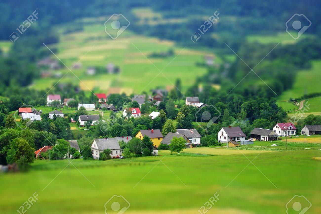 Rural landscape  Miniature  tilt-shift  simulation Stock Photo - 18358564