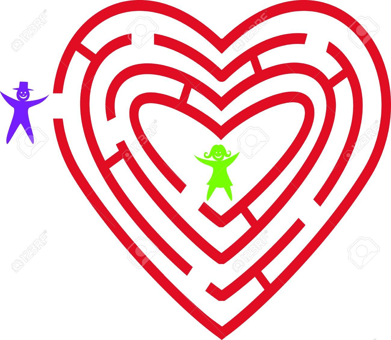 Heart maze. Stock Vector - 9438733