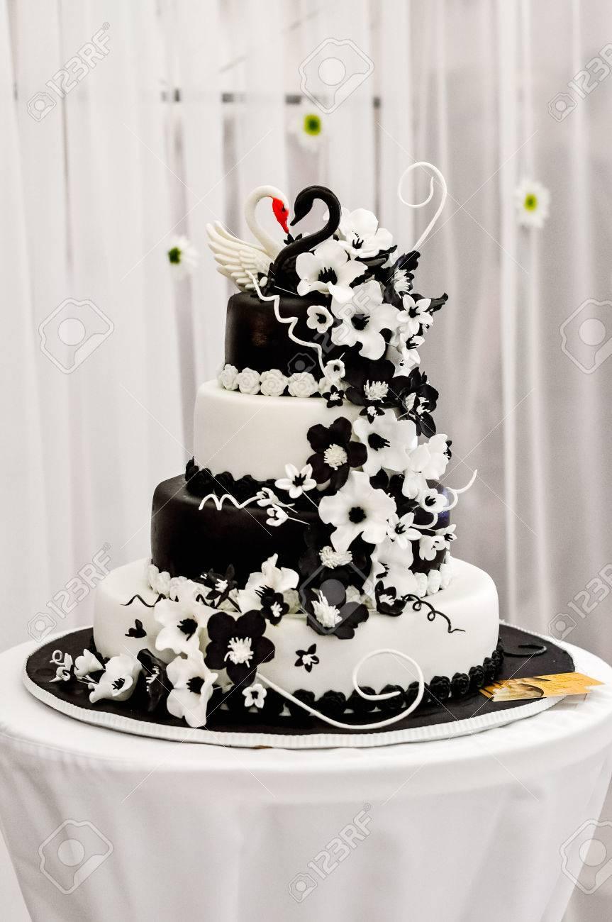 Wedding Cake Decorated With Fondant. Decorated Chocolate Flowers ...