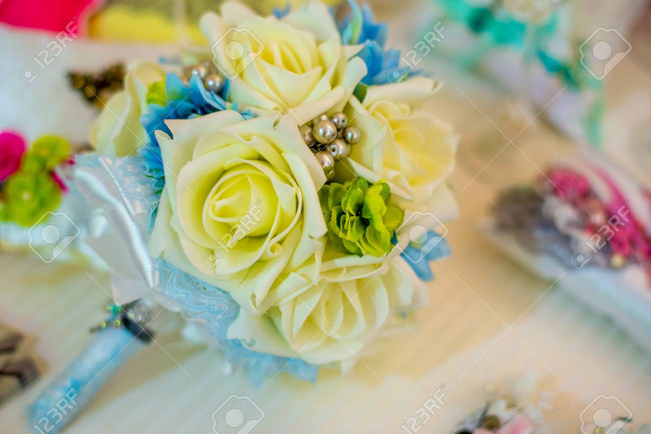 Bridal Bouquet Of Silk Ribbons Yellow Roses Stock Photo Picture