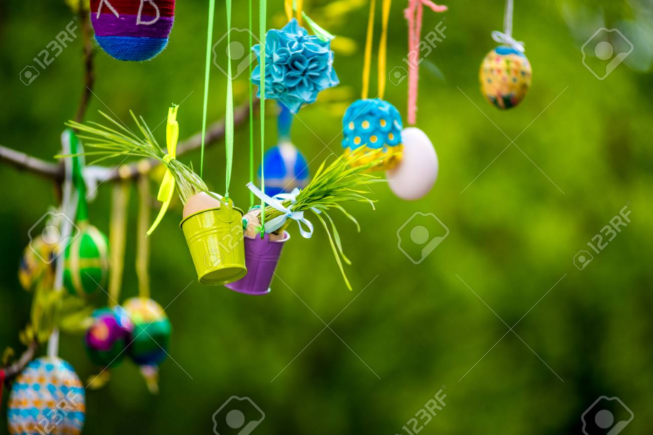 Several Easter Colored Eggs Hanging On A Tree Branch Color Sunny ...
