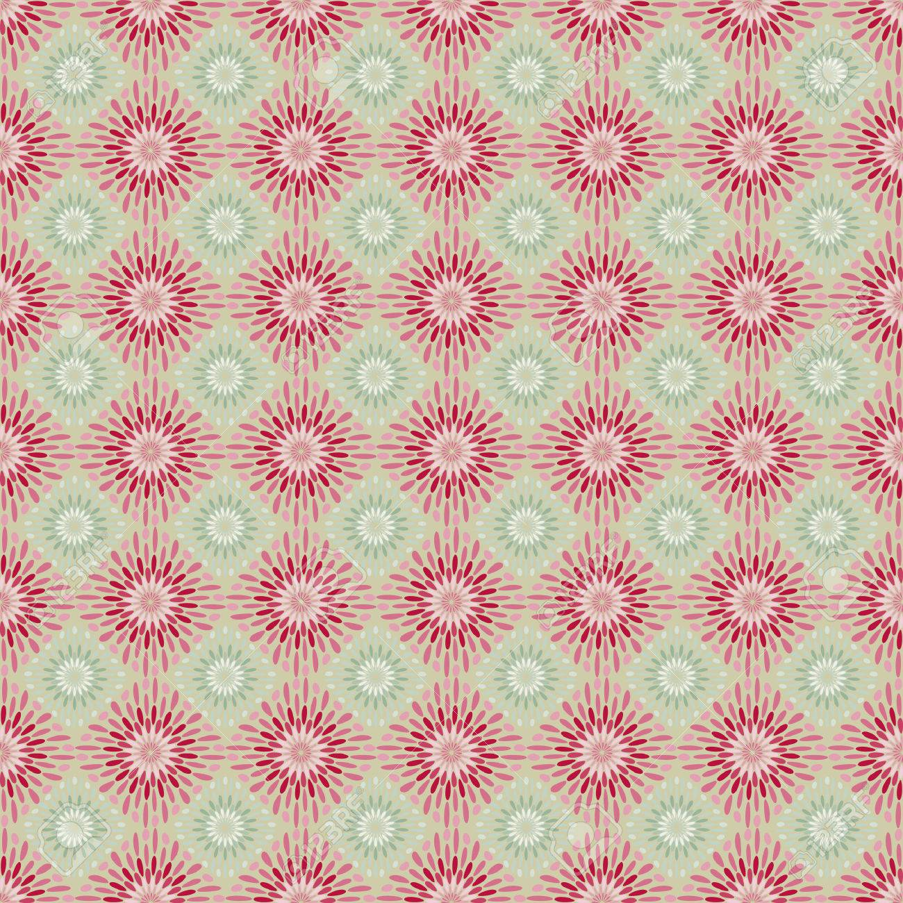 Red and green retro flower seamless pattern. Stock Vector - 5612178