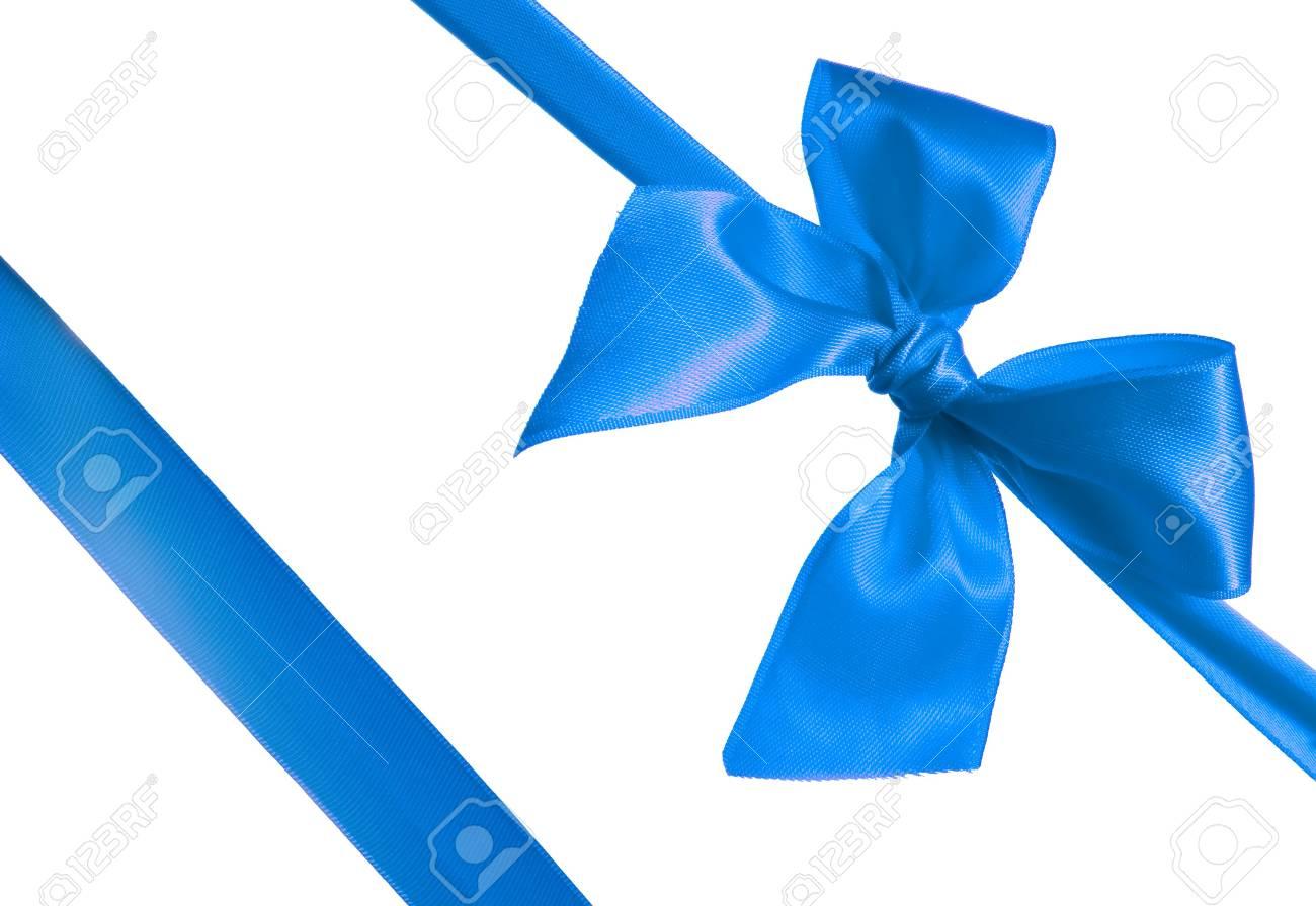 Immagini Stock Nastro Azzurro E Fiocco Isolato Su Sfondo Bianco