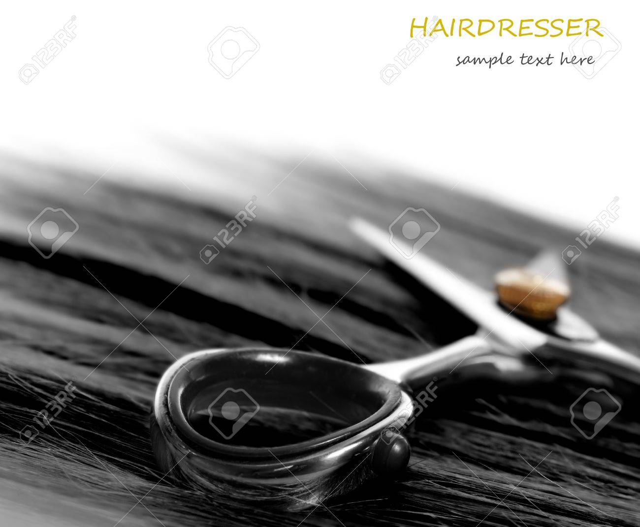 lock of hair and scissors. selective focus Stock Photo - 11548874
