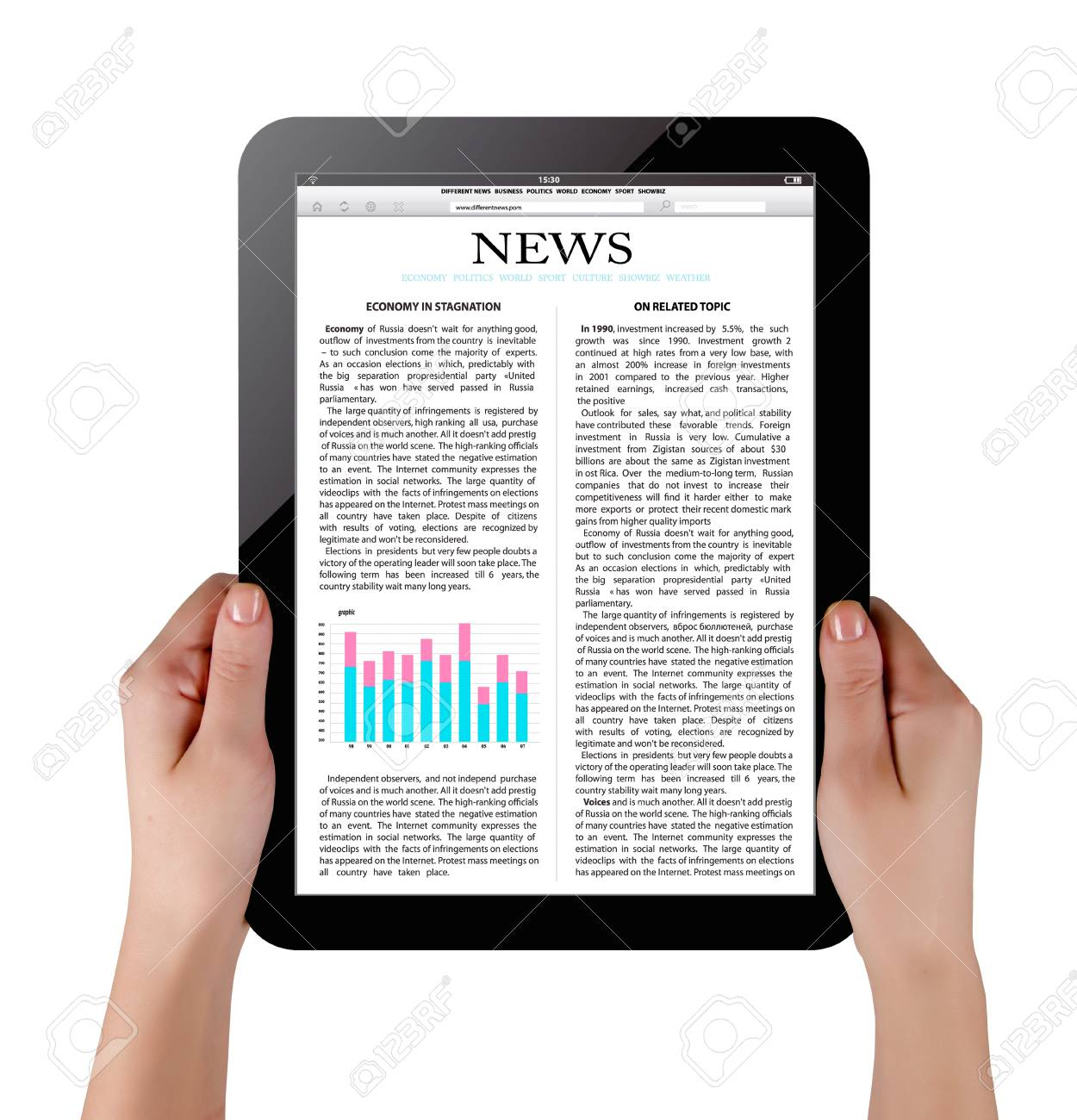 Hands holding touch screen tablet pc with business article Stock Photo - 11654061
