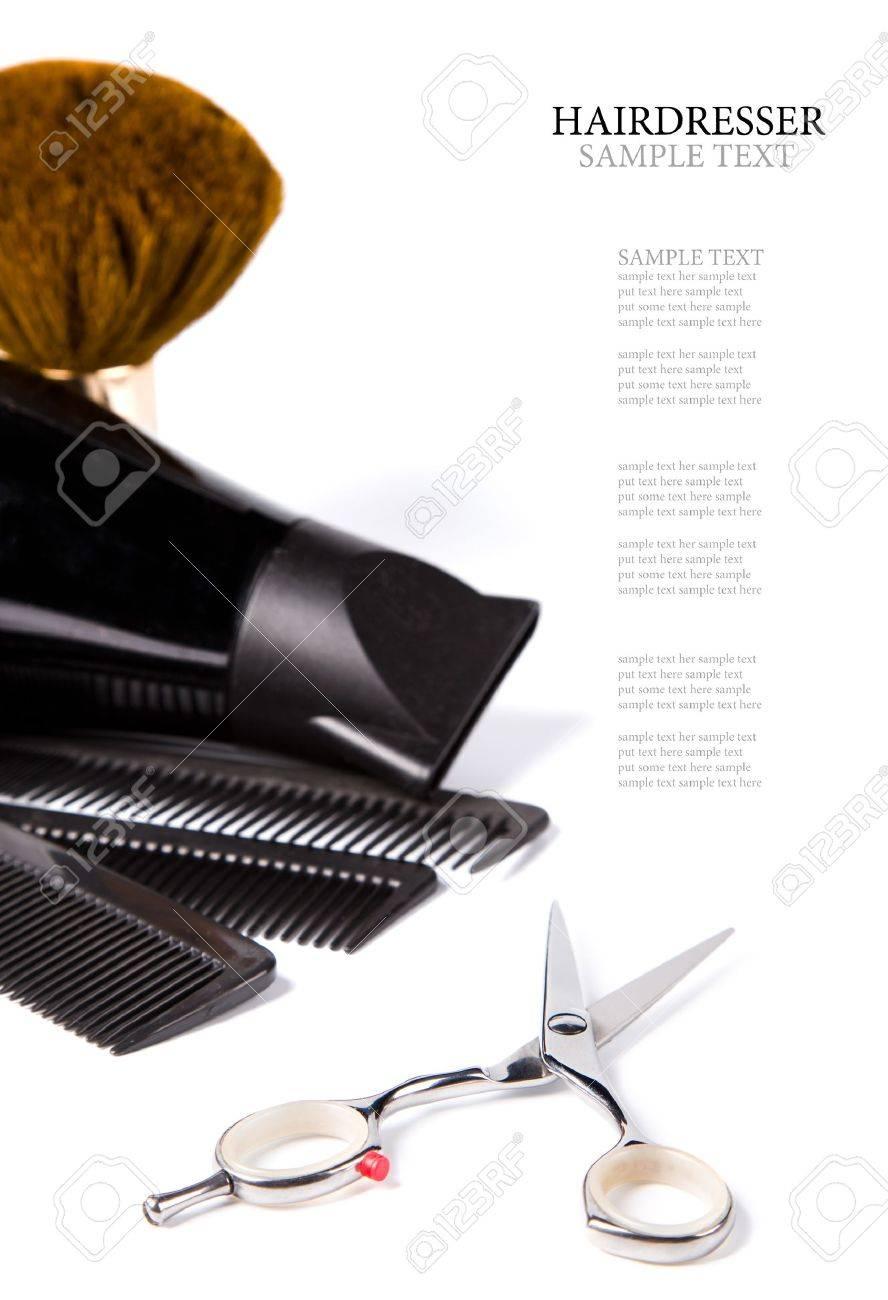 haitdresser scissors,  combs and brush on white background Stock Photo - 11814305