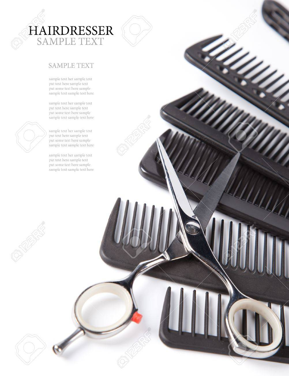 scissors and combs on white Stock Photo - 11882401