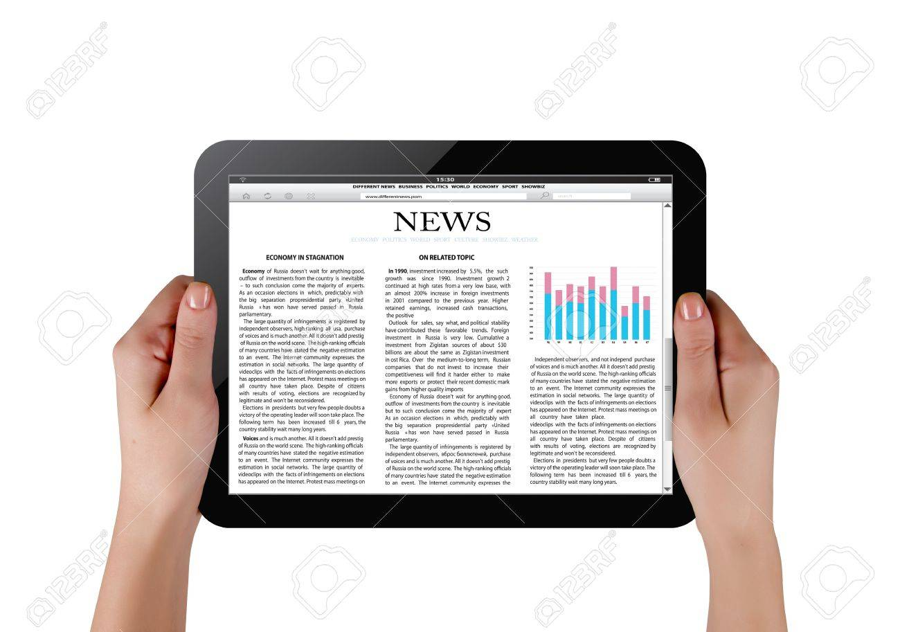 Hands holding touch screen tablet pc with business article Stock Photo - 12058545