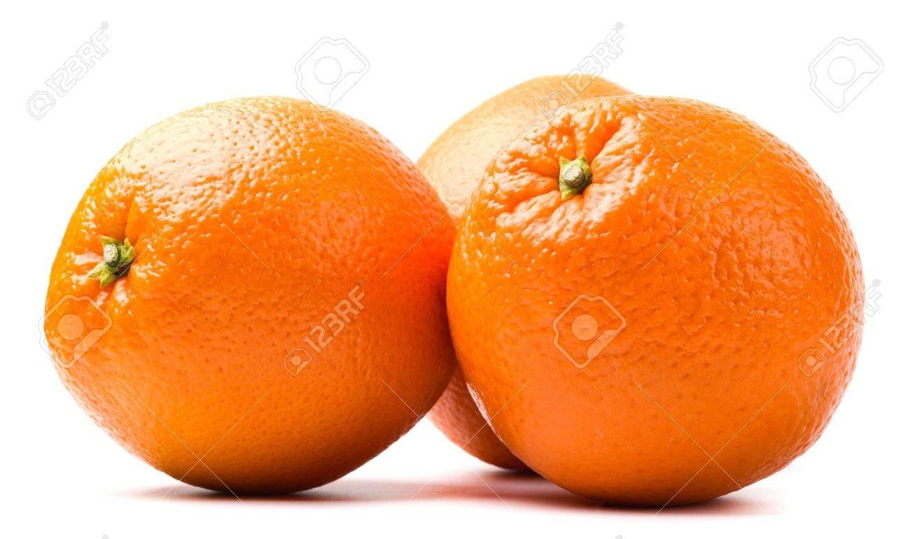 three oranges isolated on white background - 12185446