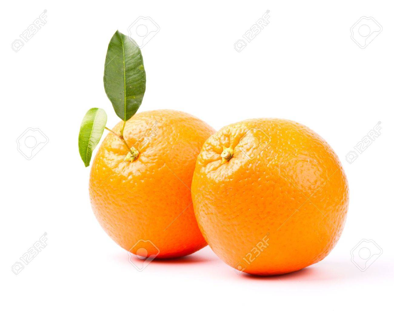 oranges with leaf isolated on white background - 14038630