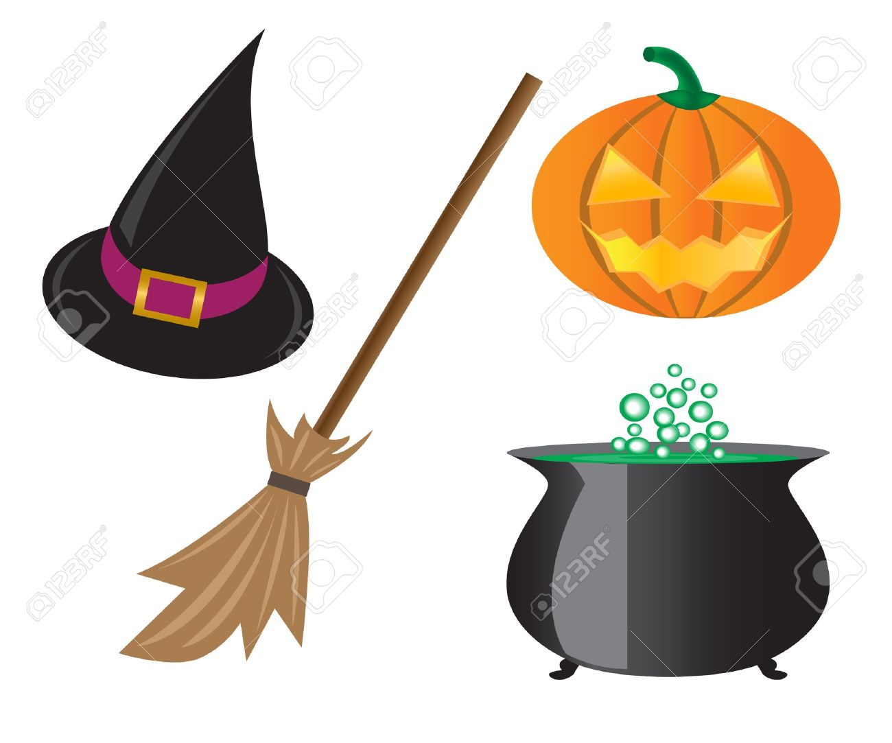Things For Halloween Pumpkins Witches Hat Pot And A Broom Royalty Free Cliparts Vectors And Stock Illustration Image 14380802