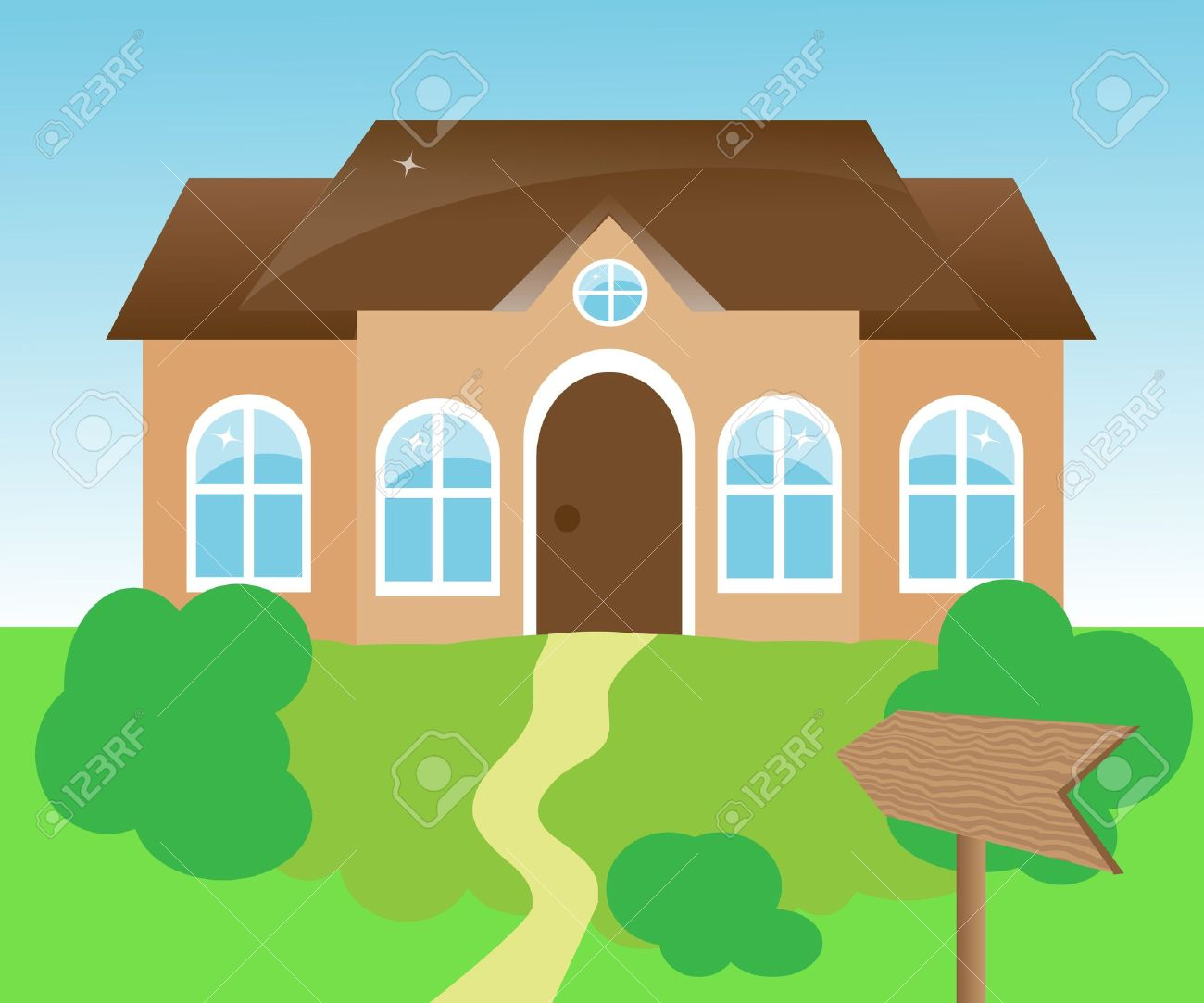 house with a wooden pointer of green space Stock Vector - 14607304