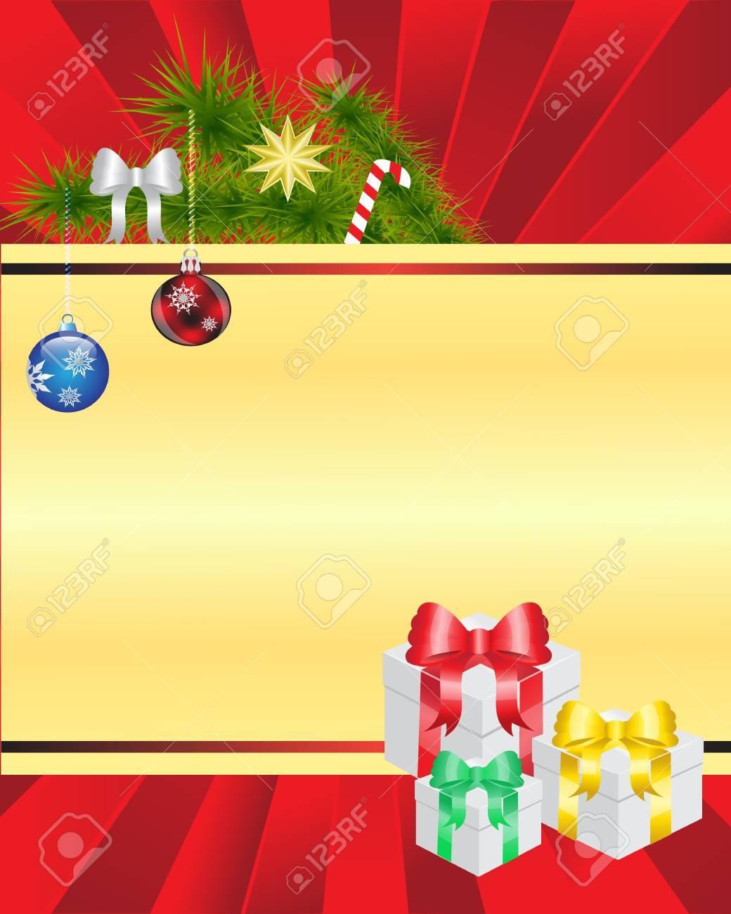 Weihnachten Mit Dem Bild, Das Er Von Fichte Äste, Geschenke ...