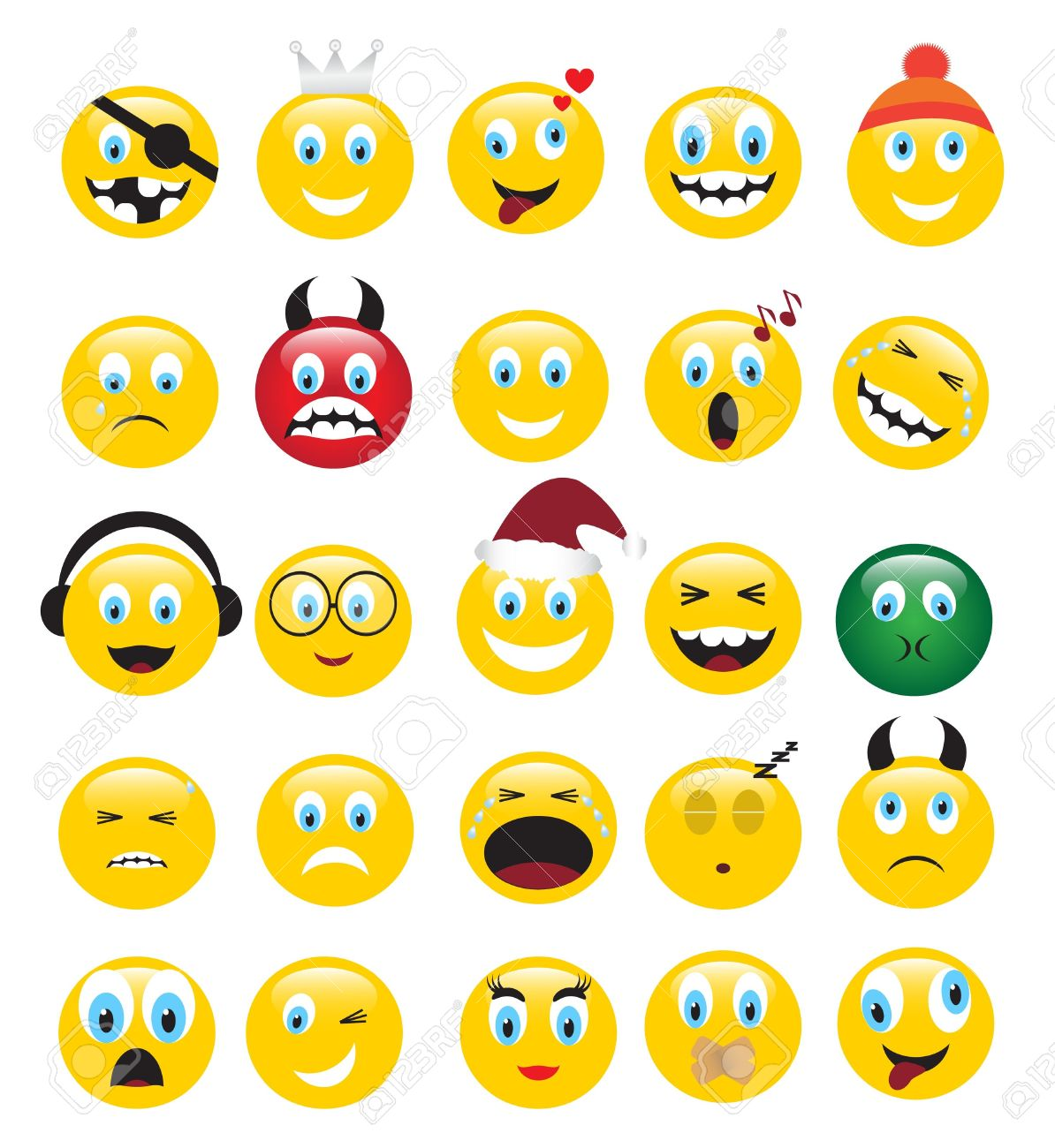 round yellow icons depicting various human emotions. Stock Vector - 14732579