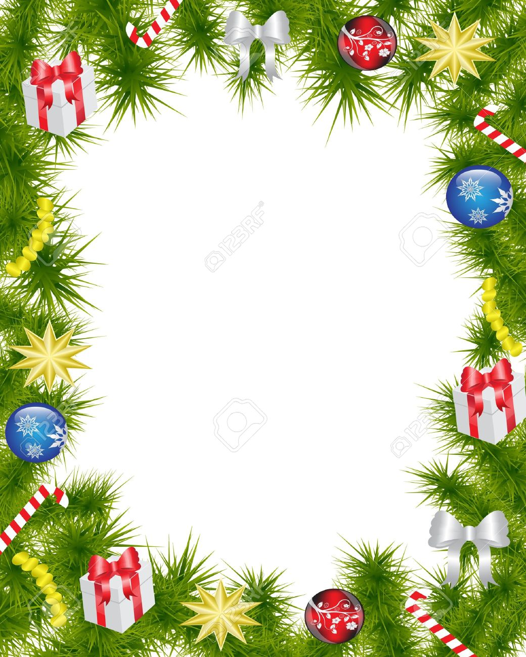 Christmas Frame Made Of Fir Branches Adorned With Christmas ...