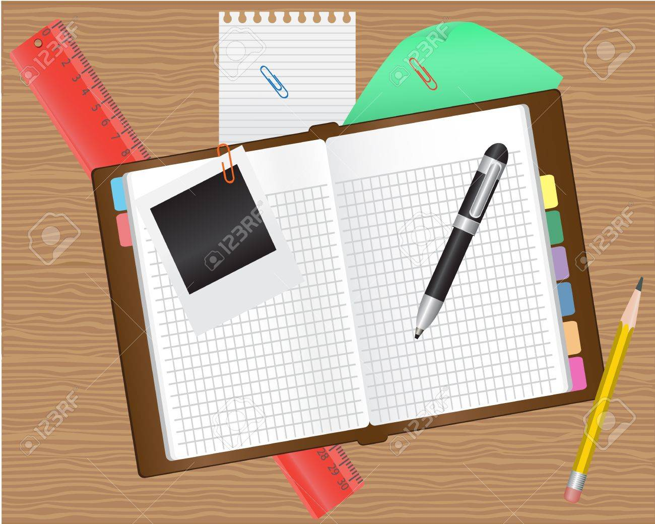 diary and office supplies on a wooden table Stock Vector - 14805904
