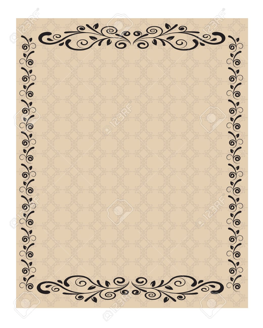 Sheet Of Paper Decorated With Ornaments And Curled Lines Royalty ...