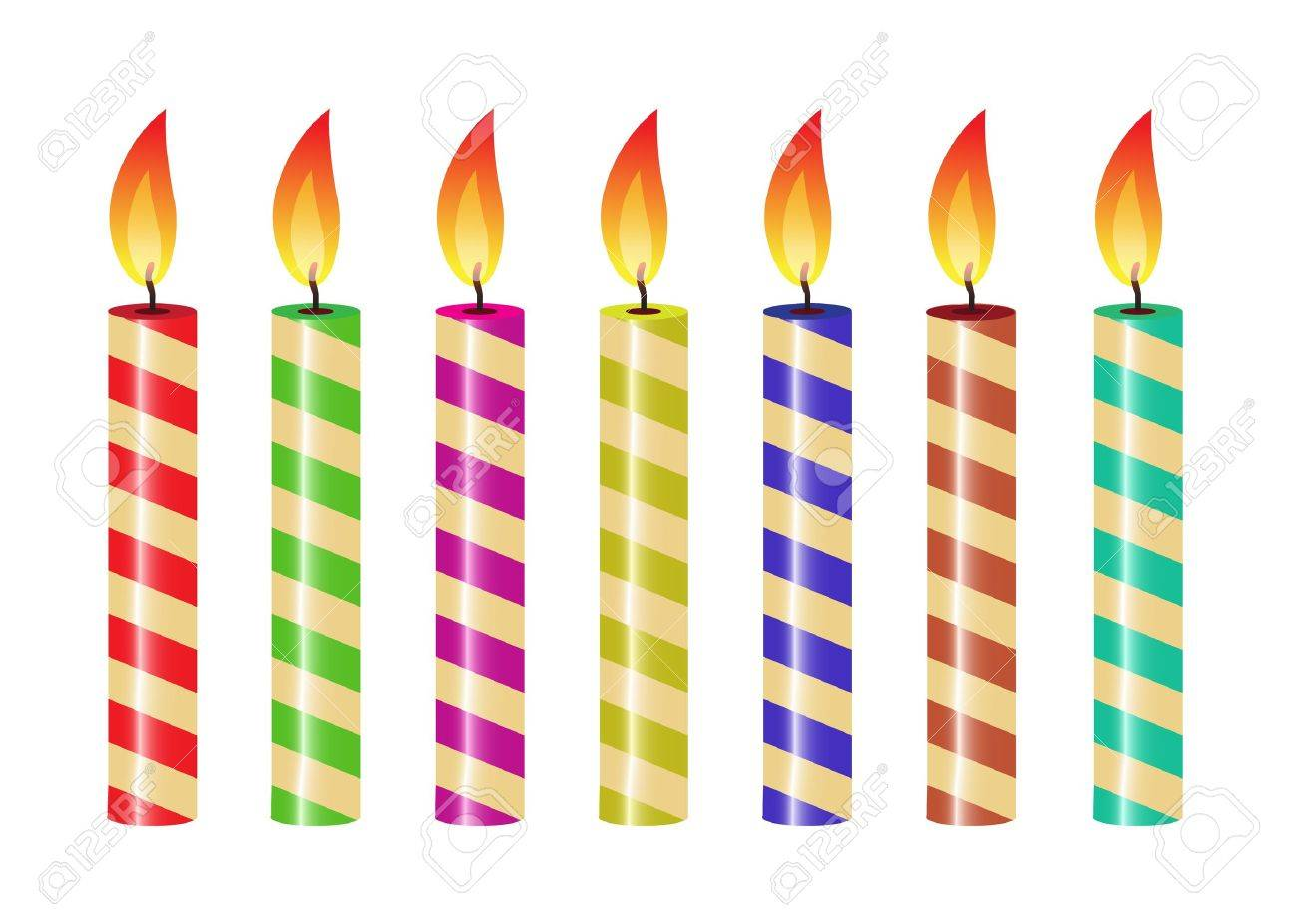 One Birthday Candle Clipart candle flame set of striped