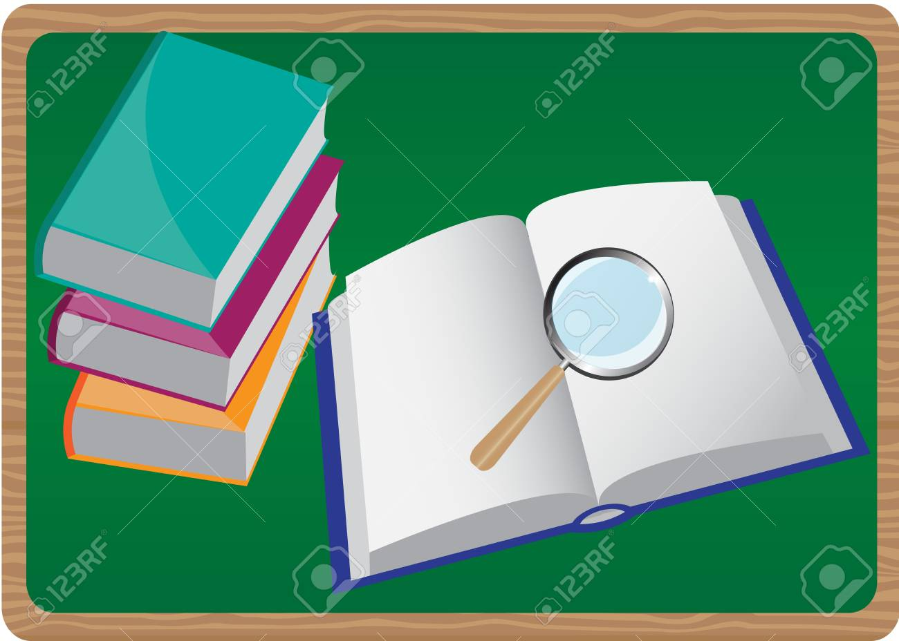 stack of books and magnifier on the background of an open book Stock Vector - 15282428