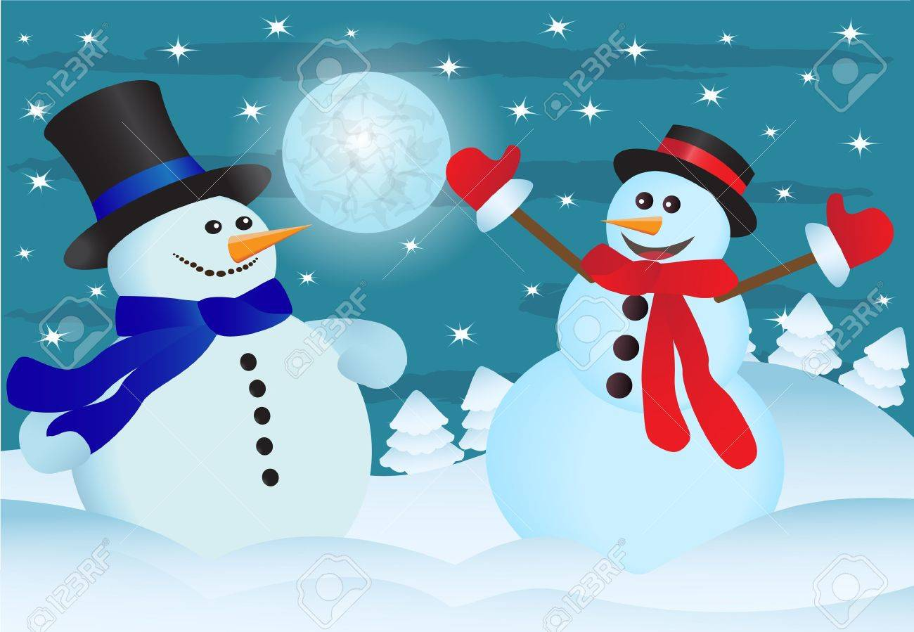 two snowmen in the night sky and the snow-covered forest Stock Vector - 15478995