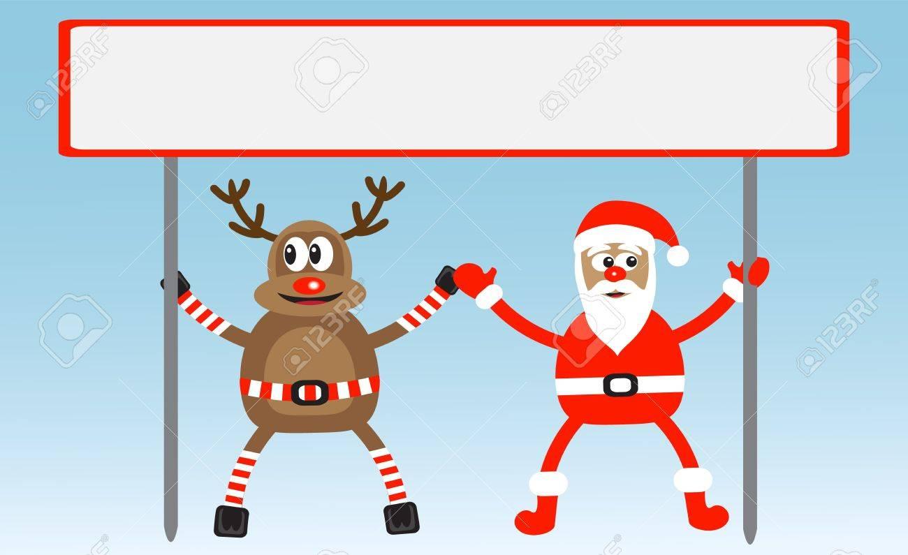 cartoon deer and Santa-Claus hold poster Stock Vector - 15559184