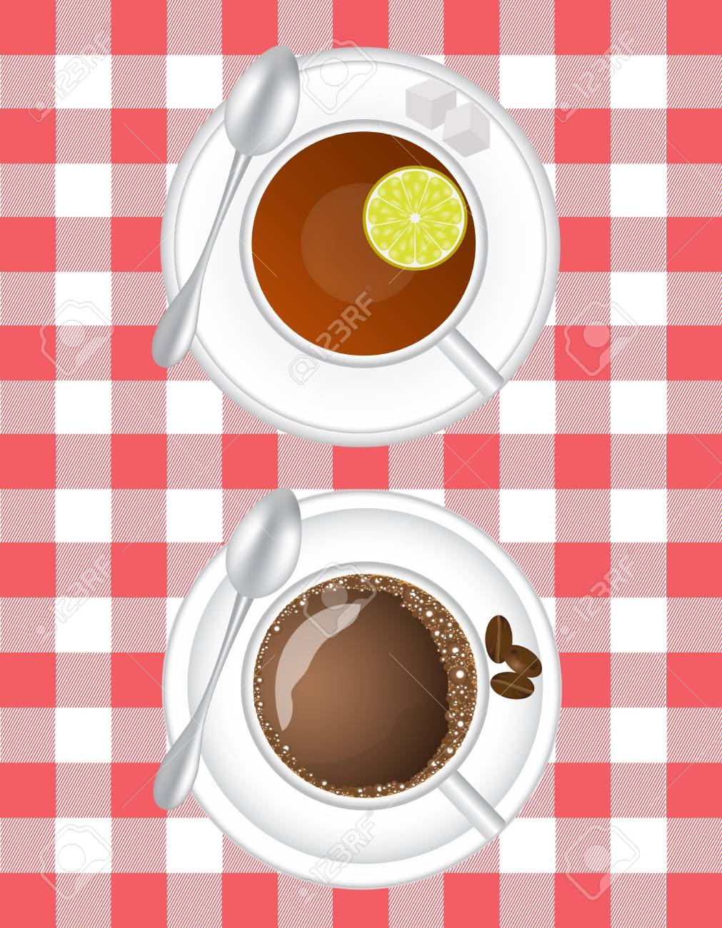 coffee and tea with lemon in a white cup on a saucer with a spoon on a table cloth background Stock Vector - 15566783