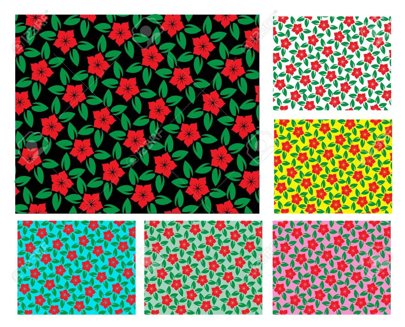 Set of floral backgrounds in different colors Stock Vector - 15707119