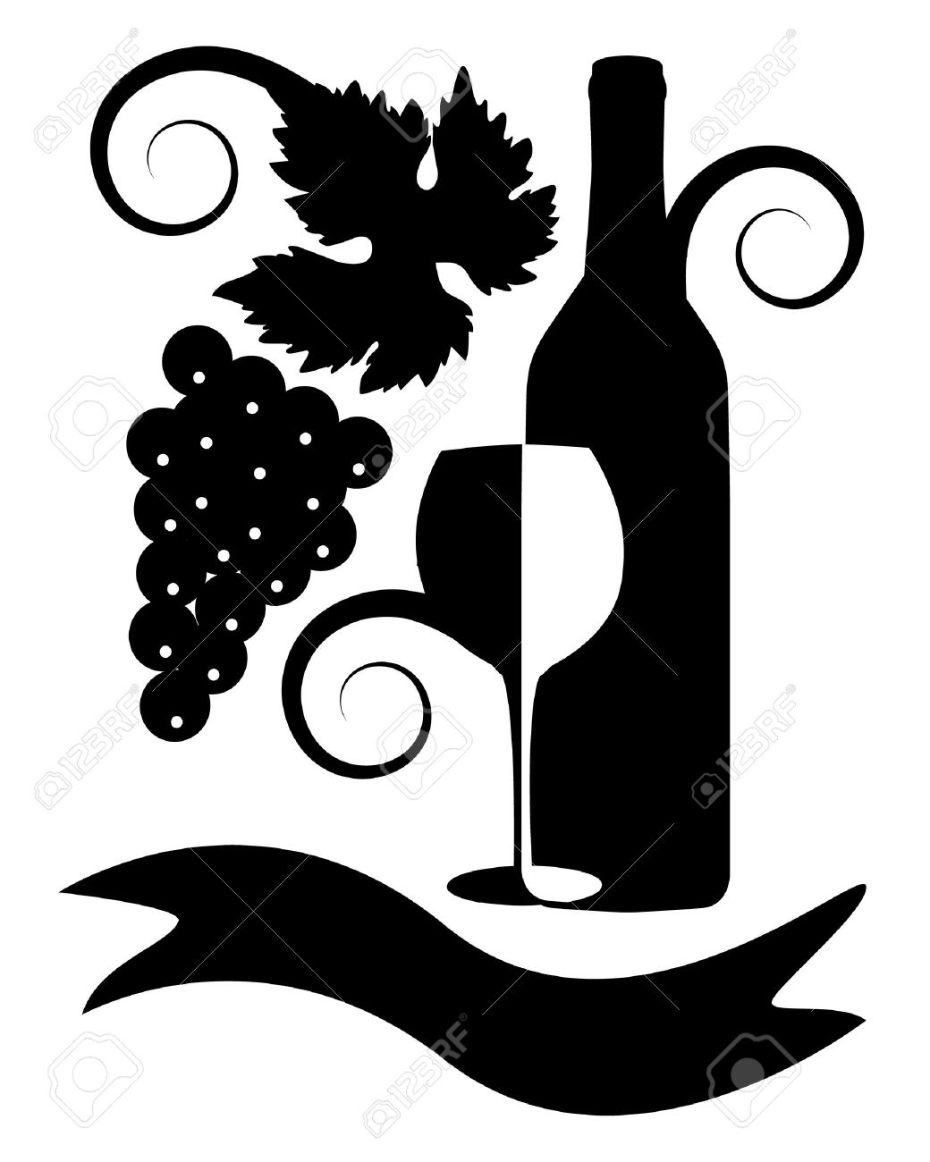 black-and-white image of a bottle of wine, a glass, ribbon, a bunch of grapes, leaves and curls Stock Vector - 15733014